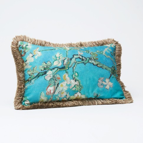 Van Gogh Cushion cover fringed Almond Blossom