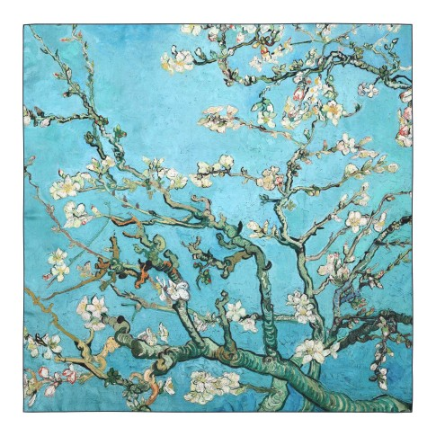 Van Gogh Luxury silk twill scarf Almond Blossom with black rim