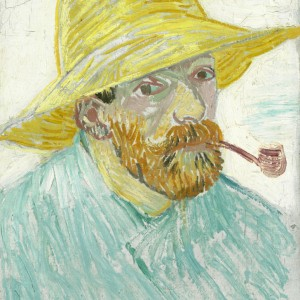 Van Gogh Postcard  Self-portrait with pipe and straw hat