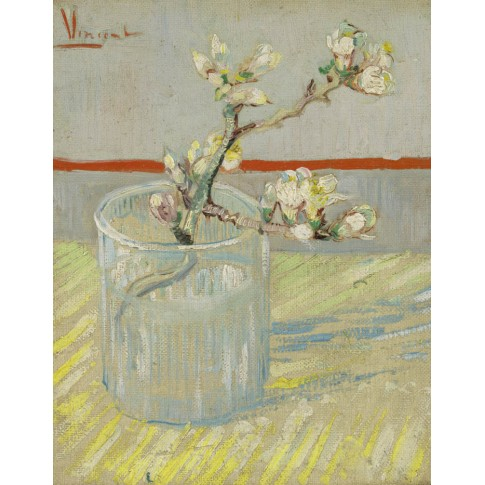 Van Gogh Postcard  Sprig of flowering almond in a glass