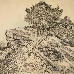 Van Gogh Giclée, The Rock of Montmajour with Pine Trees