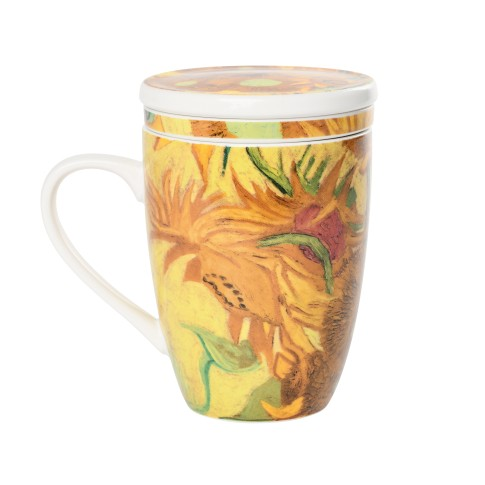 Van Gogh Mug with infuser Sunflowers