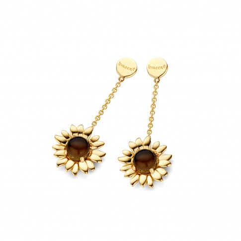 Van Gogh Gassan® Golden earrings with smokey quartz Sunflowers