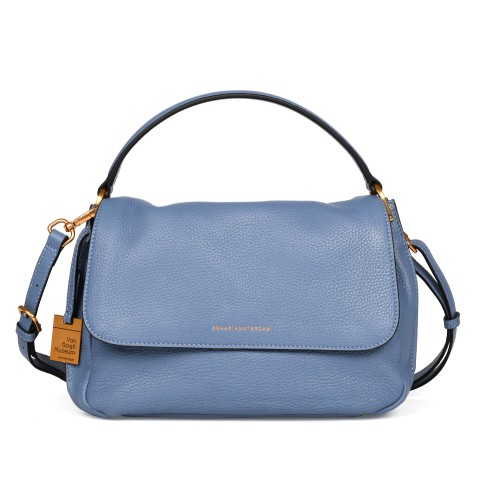 Smaak® Leather shoulder bag Van Gogh Irises ice blue