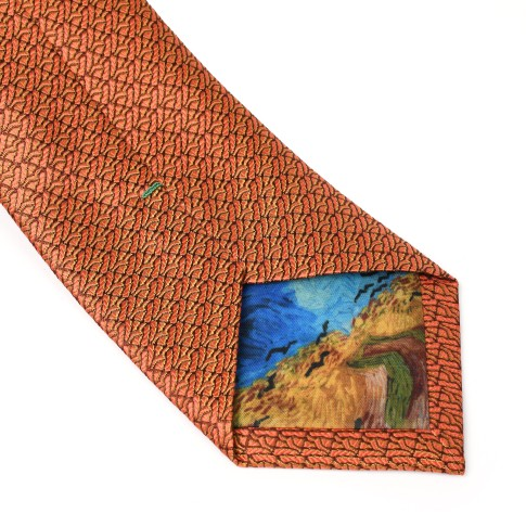Van Gogh Silk tie Crows orange