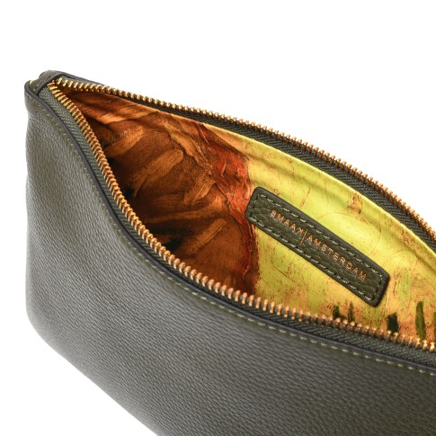 Smaak® Leather pouch Van Gogh Sunflowers army green