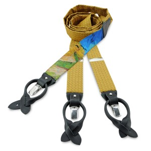 Van Gogh yellow silk & black leather braces
