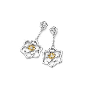 Van Gogh Gassan® Golden earrings with diamond Almond Blossom