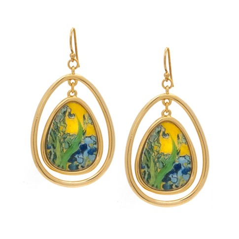 Van Gogh 22kt Goldplated teardrop earrings Irises, by Erwin Pearl®