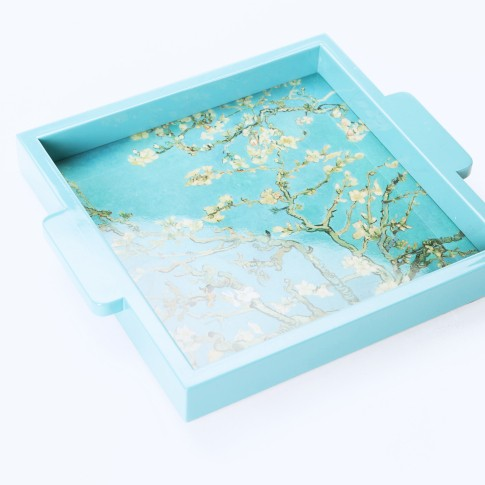 Van Gogh Lacquer Tea Box on Tray Almond Blossom