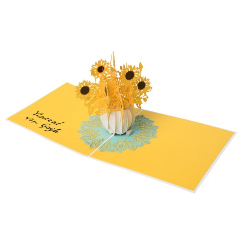 Van Gogh 3D pop-up card Sunflowers, white
