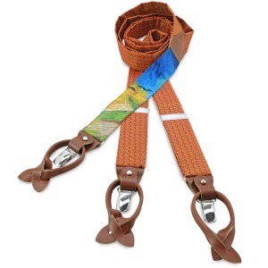 Van Gogh orange silk & cognac leather braces