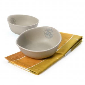 Van Gogh Gift set The Harvest, 2 ceramic bowls + tea towel yellow