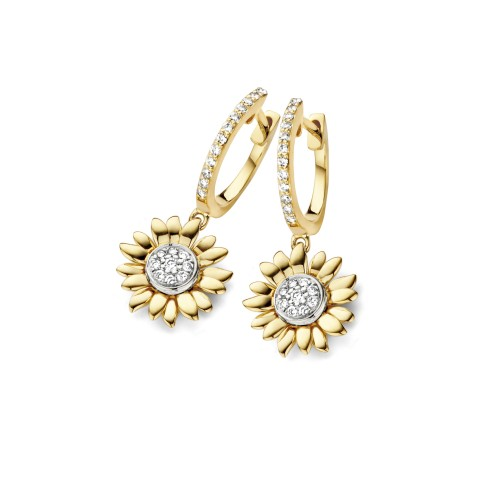 Van Gogh Gassan® Golden hoop earrings with diamond Sunflowers