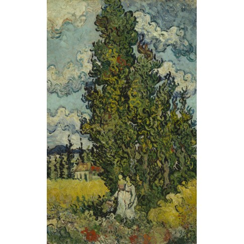 Van Gogh Postcard  Cypresses and two women