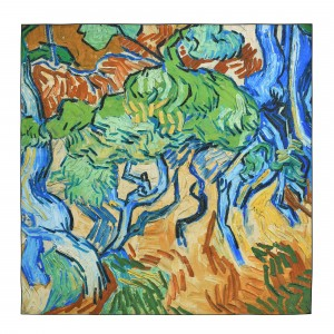 Van Gogh Silk scarf carré Tree Roots