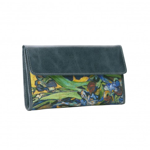 Van Gogh Wallet leather & silk Irises