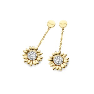 Van Gogh Gassan® Golden earrings with diamond Sunflowers