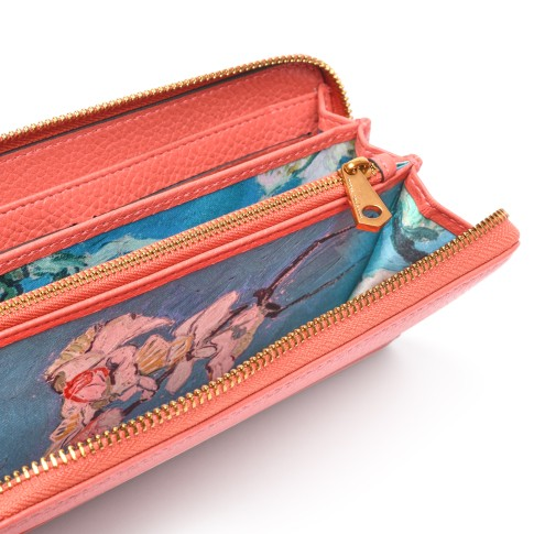 Smaak® Leather wallet Van Gogh Almond Blossom coral