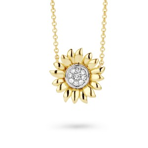 Van Gogh Gassan® Golden pendant necklace with diamonds Sunflowers