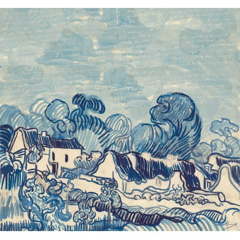 Van Gogh 3D Wallpaper Landscape with Houses