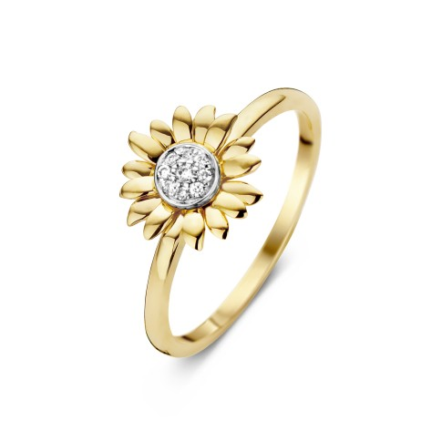 Van Gogh Gassan® Golden ring with 9 diamonds Sunflowers