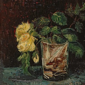 Van Gogh Giclée, Glass with Yellow Roses