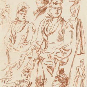 Sheet with figure and portrait studies of women