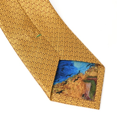 Van Gogh Silk tie Crows yellow