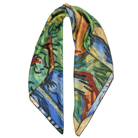 Van Gogh Luxury silk twill scarf Tree roots
