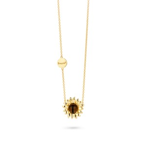 Van Gogh Gassan® Golden pendant necklace with smokey quartz Sunflowers