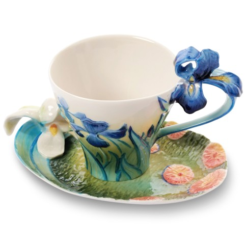 Taza y plato Franz Collection® Van Gogh, Lirios