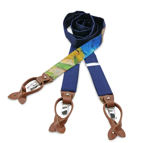 Van Gogh blue silk & cognac leather braces