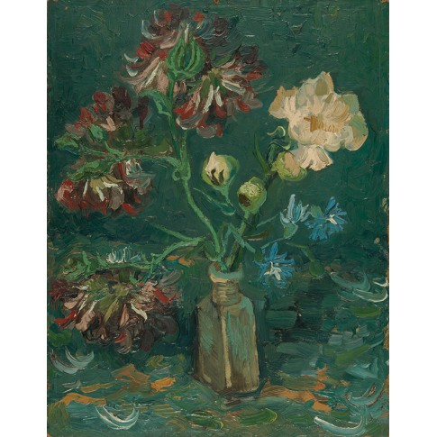 Van Gogh Giclée, Small Bottle with Peonies and Blue Delphiniums