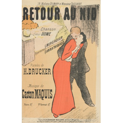 Sheet music Retour au nid by H. Drucker and Gaston Maquis, performed by Mercadier and Anna Thibaud