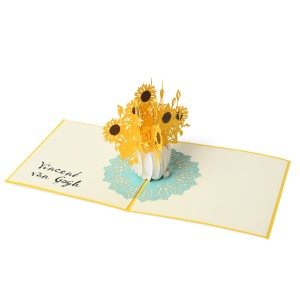 Van Gogh 3D pop-up card Sunflowers, yellow