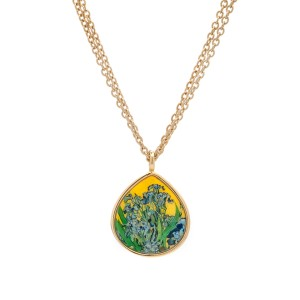 Van Gogh 22kt Goldplated pendant necklace Irises, by Erwin Pearl®