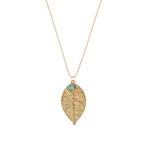 Van Gogh Necklace with gold plated leaf and gemstone, by Ellen Beekmans®