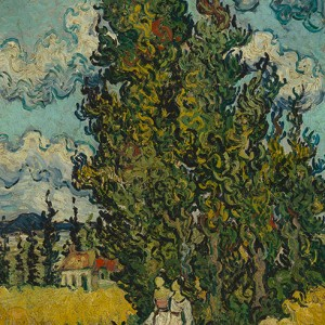 Van Gogh Giclée, Cypresses and Two Women