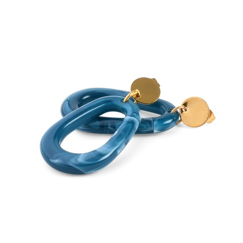 Van Gogh Ear studs lacquered resin blue, by Ellen Beekmans®