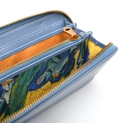 Smaak® Leather wallet Van Gogh Irises ice blue
