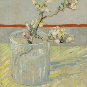 Van Gogh Ansichtkaart  Sprig of flowering almond in a glass