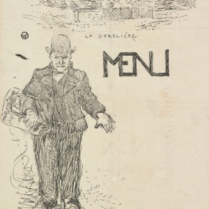 Trial proof of Peasant with a Basket (Paysan au panier), menu for a family dinner at La Jozelière