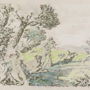 Trial Proof of Nymph Sitting under a Tree (Nymphe assise sous un arbre), non-published print from the series Paysages
